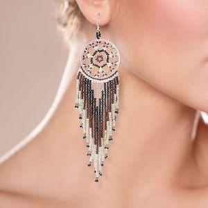 🆕NWOT Boho Dreamcatcher Statement Dangle Earrings